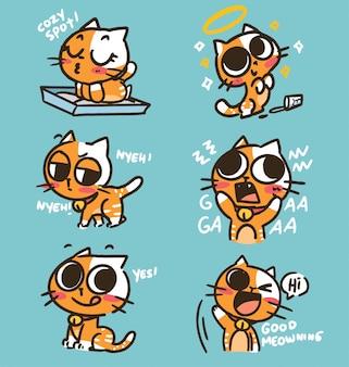 Lustige niedliche entzückende kätzchen-gekritzelaufkleber-illustration