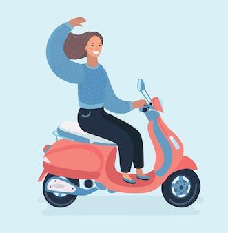 Lustige niedliche illustration des mädchens auf einem motorrad.