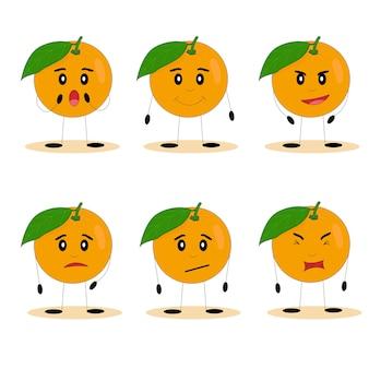 Lustige orangen. orangen mit süßen gesichtern. flache vektorillustration