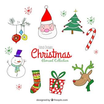 Lustige packung von hand gezeichneten weihnachten elemente