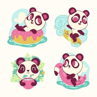 Lustige pandabären-aufklebersammlung Kostenlosen Vektoren