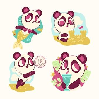 Lustige pandabären-aufklebersammlung