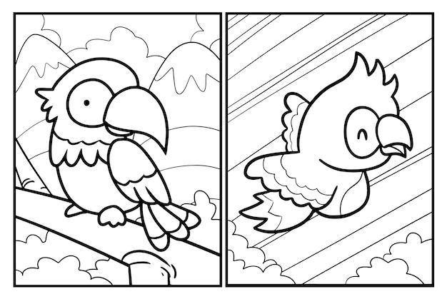 Lustige papageien-cartoon-malvorlagen