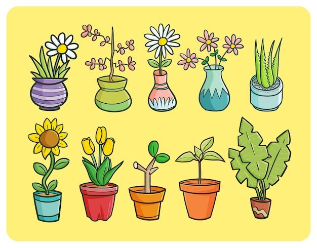 Lustige pflanzen und blumen in einer topfsammlung im gekritzelstil
