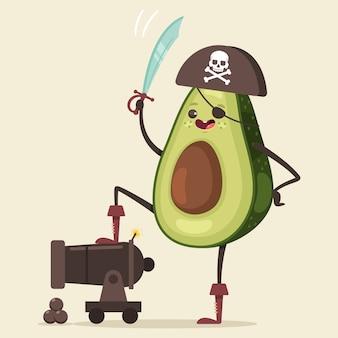 Lustige piraten-avocado im hut, in der augenklappe, im schwert und in der kanone mit kugel niedliche frucht-seeräuber-zeichentrickfigur isoliert