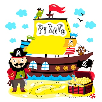 Lustige piratenillustration für kinder