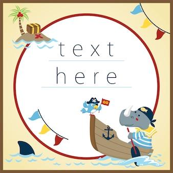 Lustige piratenkarikatur auf textschablonenhintergrund