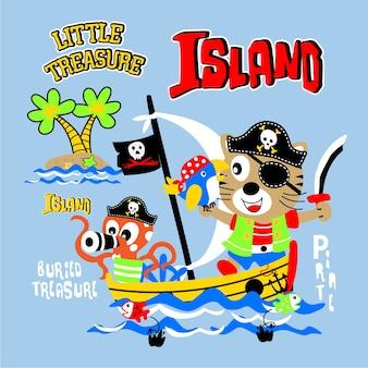 Lustige piratenkarikatur-schatzinsel