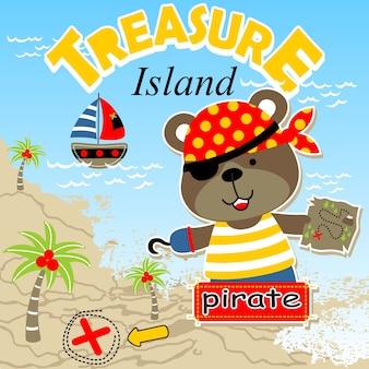 Lustige piratenkarikatur