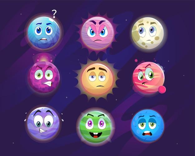Lustige planetenzeichentrickfiguren-illustrationen eingestellt