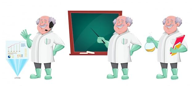 Lustige professor-zeichentrickfigur