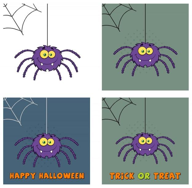 Lustige purpurrote halloween-spinnen-zeichentrickfilm-figur