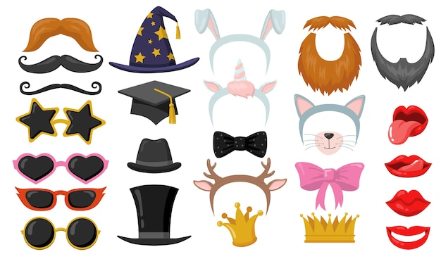 Lustige retro-photobooth-party-flachelemente gesetzt. karikaturstirnbänder, katzenohren, brillen, hüte, gesichtsmasken isolierte vektorillustrationssammlung. karnevalszubehör und spaßkonzept
