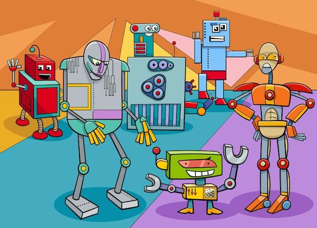Lustige robotercharakter-gruppenkarikaturillustration