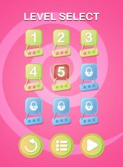 Lustige rosa gui portrait level auswahl popup-oberfläche