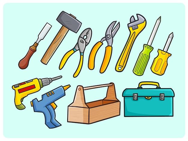 Lustige sammlung von werkzeugen und industriegeräten im einfachen doodle-stil