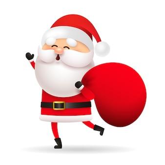 Lustige santa claus, die tasche mit geschenken hält
