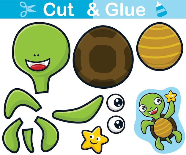 Lustige schildkröte mit seestern auf der hand. bildungspapierspiel für kinder. ausschneiden und kleben
