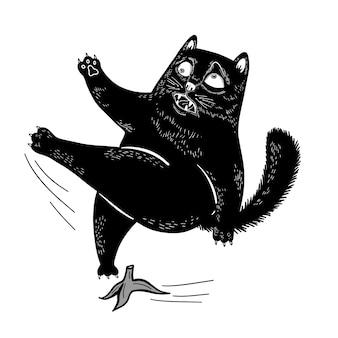 Lustige schwarze katze des vektors, die auf einer banane ausgerutscht ist, fliegt flache illustration