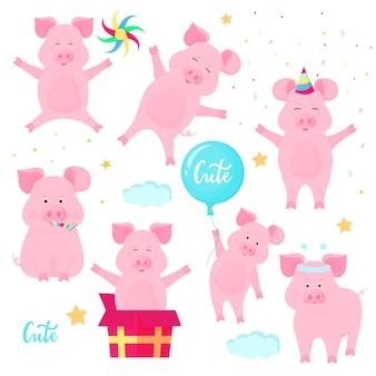 Lustige schweine, die spaß haben. süße ferkel feiern ihren geburtstag. wildschweine auf einer party.