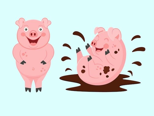 Lustige schweine. ein schmutziges kleines schwein spielt in einer pfütze. vektor.
