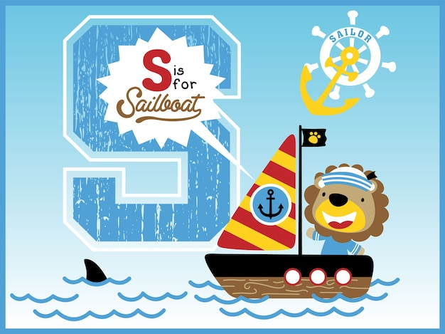 Lustige seemannkarikatur auf segelboot mit großem alphabet