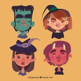 Lustige set von halloween-kindern