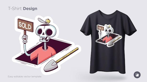 Lustige skelettillustration. bedrucken sie t-shirts, sweatshirts und souvenirs. vektor