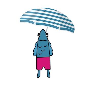 Lustige sticker mit fischen in rosa shorts und einem sonnenschirm. fisch mit einem lustigen blick. gut für postkarten, aufkleber und kinderbücher. isoliert. vektor.