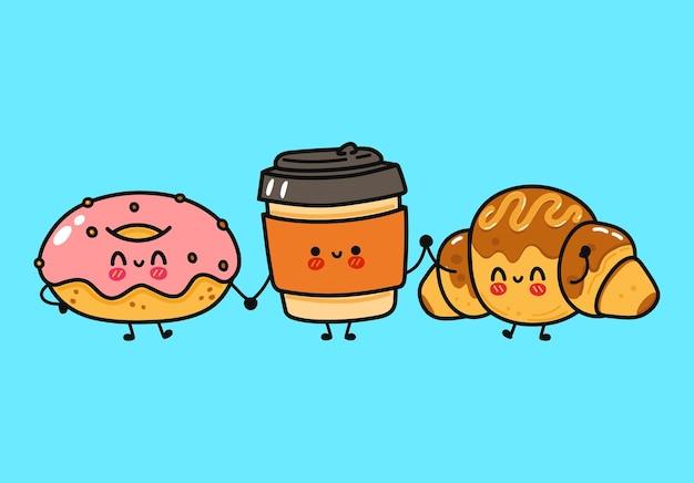 Lustige süße fröhliche donut-kaffee- und schokoladen-croissant-charaktere-bundle-set