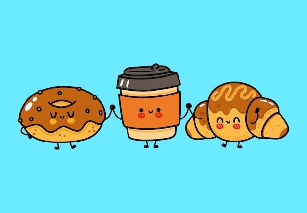 Lustige süße fröhliche donut-kaffee- und schokoladen-croissant-charaktere set