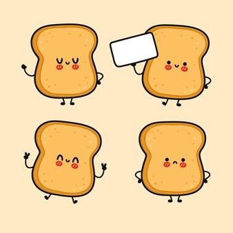 Lustige süße fröhliche toast-charaktere-bundle