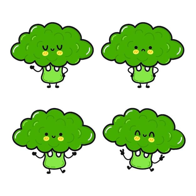 Lustige süße glückliche brokkoli-charaktere-bundle-set