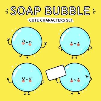 Lustige süße glückliche seifenblasen-zeichentrickfiguren-bündel-set
