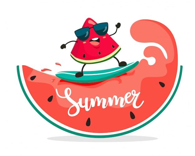 Lustige surfer-wassermelonenscheibe reitet auf wassermelonenwellen. sommerillustration