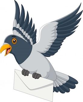 Lustige taube der karikatur, die brief liefert