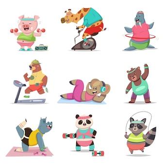 Lustige tiere, die übung machen. fitness und gesunder lebensstil. niedlicher cartoon-zeichensatz