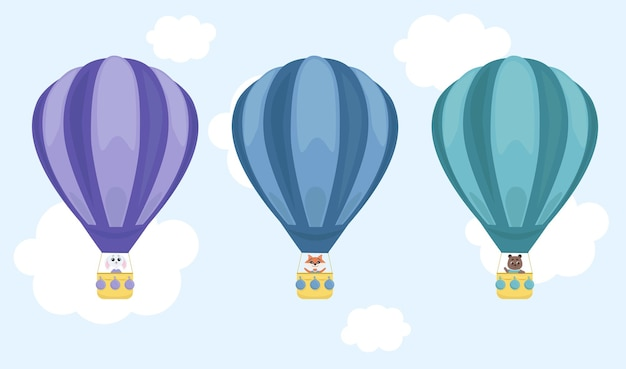 Lustige tiere in einem heißluftballon. cartoon-stil. für postkarten, tapeten, souvenirs.