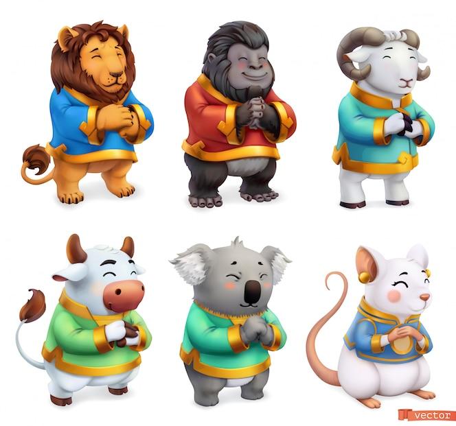 Lustige Tiere. Löwe, Gorilla, Widder, Stier, Koala, Maus. 3d icon set