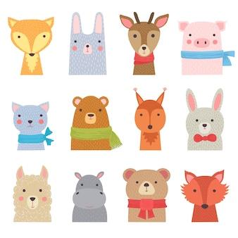 Lustige tiere. nette zoosammlung duschen kinderdekoration tierbabys vektor hand gezeichnete bilder. zoo tier-, eichhörnchen- und nilpferdillustration