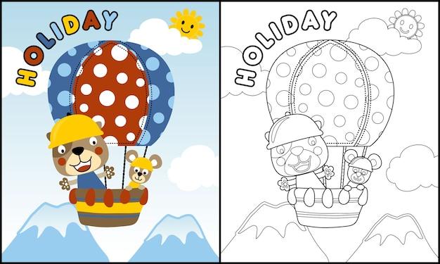 Lustige tierkarikatur auf heißluftballon