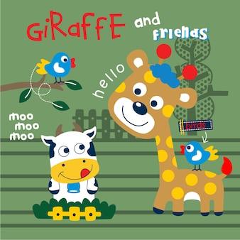 Lustige tierkarikatur der giraffe und der freunde