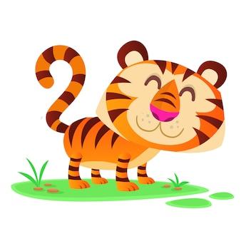Lustige tigerillustration der karikatur