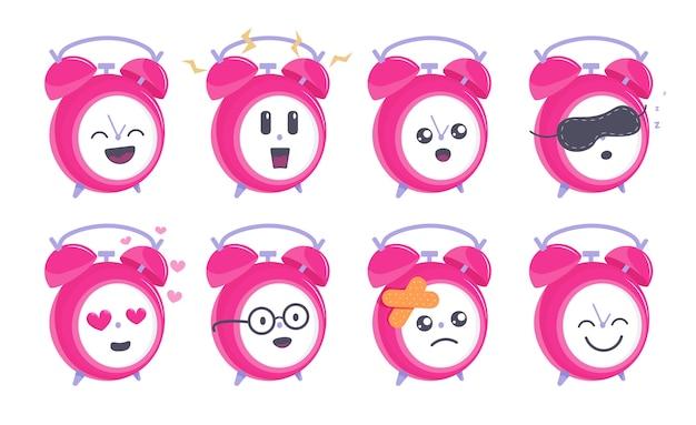 Lustige uhr. lustiger runder wecker maskottchencharakter, der verschiedene emotionssymbolsatzillustration zeigt.