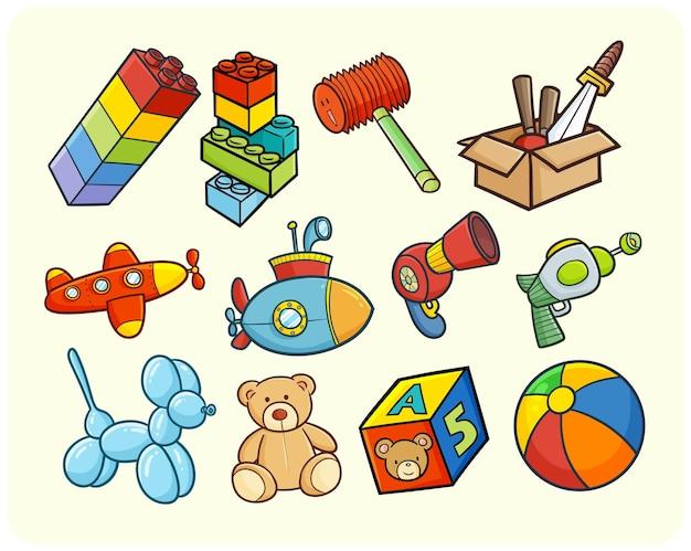 Lustige und bunte kinderspielzeuge im einfachen gekritzelstil