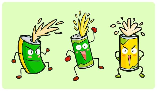 Lustige und coole dosencharakter-sammlung im kawaii-doodle-stil