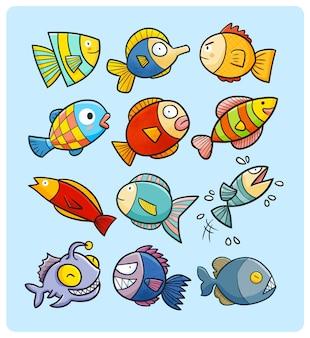 Lustige und farbenfrohe fischsammlung im kawaii-doodle-stil