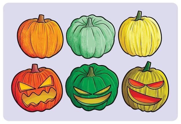 Lustige und gruselige kürbissammlung für halloween