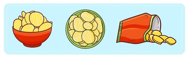 Lustige und leckere kartoffelchips im cartoon-stil