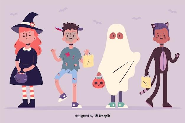 Lustige und nette halloween-ereigniskinder eingestellt